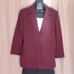 Karen Scott blazer red plaid jacket